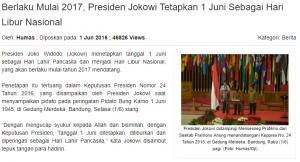 presiden jokowi menetapkan tanggal 1 juni sebagai hari libur nasional